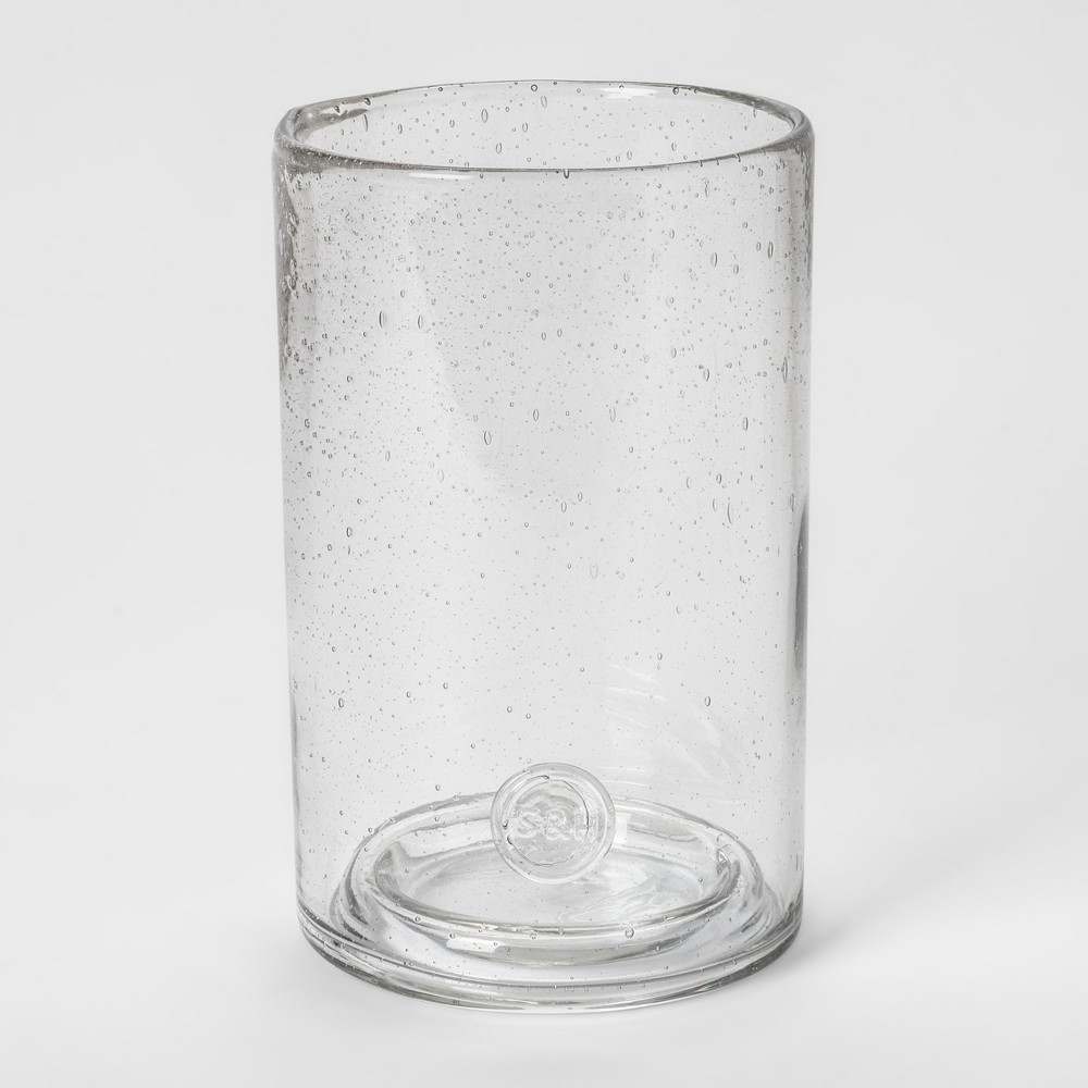 Pillar Holder Bubbled Glass - Smith & Hawken, Clear