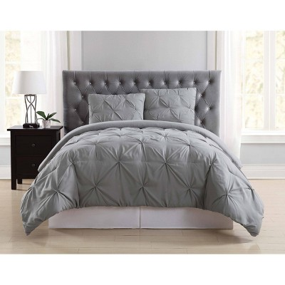 Truly Soft Everyday King Pleated Duvet Cover Set Gray