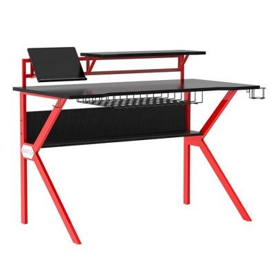 PVC Coated Ergonomic Metal Frame Gaming Desk Black/Red - The Urban Port