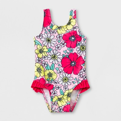 Baby Girls' Floral One Piece Swimsuit - Cat & Jack™ Pink 9M