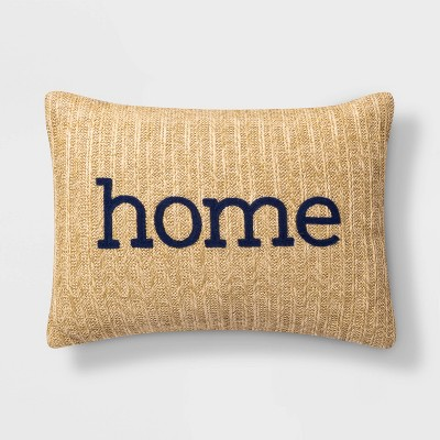 Embroidered Home Lumbar Throw Pillow Natural - Threshold™