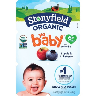 Stonyfield Organic YoBaby Apple & Blueberry Whole Milk Baby Probiotic Yogurt - 6ct/4oz Cups