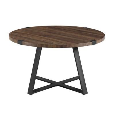 "30"" Round Urban Industrial Wood And Steel Coffee Table - Saracina Home : Target"