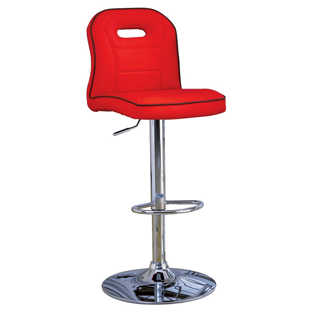 ioHomes Tyler Sporty Adjustable Leatherette Swivel Barstool - Red, Apple Red