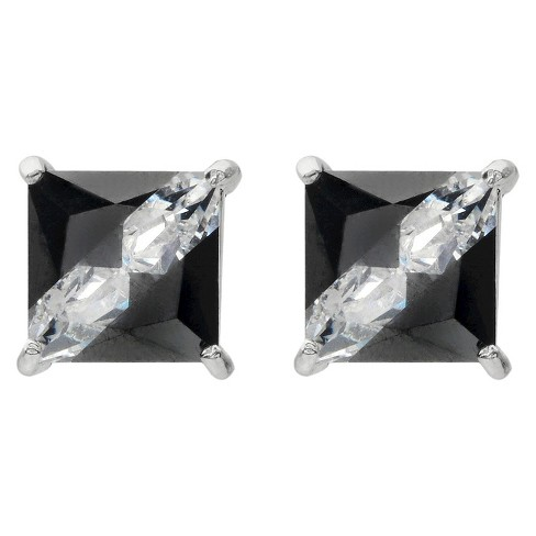 3 1/2 CT. T.W. Tressa Collection Sterling Silver Square Cut CZ Prong Set Stud Earrings - Black - image 1 of 3
