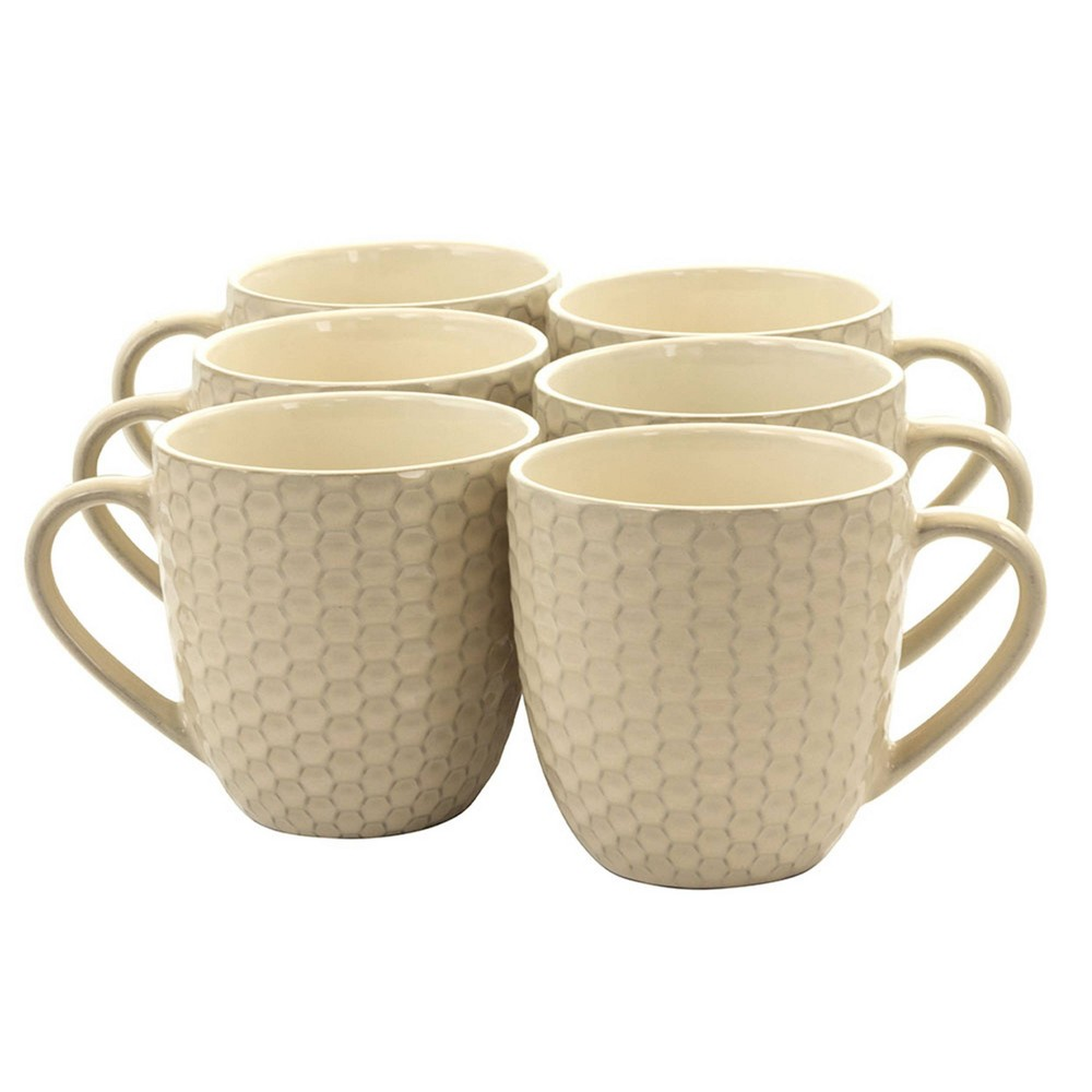 Image of 15oz 6pk Stoneware Hexagon Mugs White - Elama