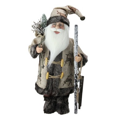 """Northlight 16.5"""" Country Rustic Santa Claus Carrying a Wooden Sled and Sack of Gifts"""