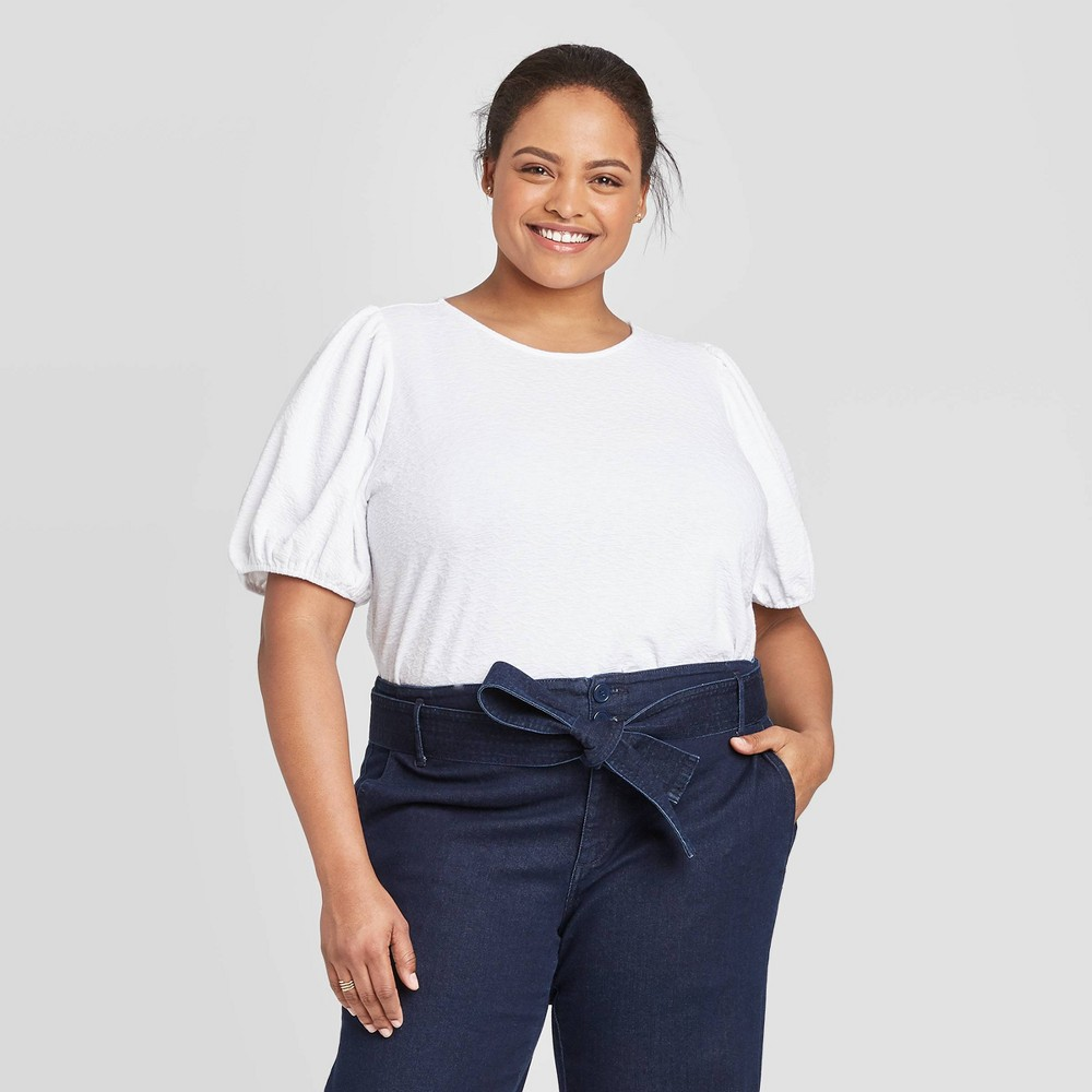 Women's Plus Size Short Sleeve Scoop Neck T-Shirt - A New Day White 3X, Women's, Size: 3XL was $16.99 now $11.89 (30.0% off)