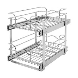 """Rev-A-Shelf 12"""" Wide 22"""" Deep Base Kitchen Cabinet 2 Tier Pull Out Wire Basket"""