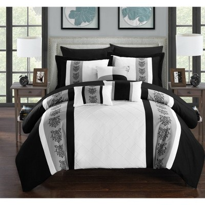 King 10pc Dalton Bed In A Bag Comforter Set White - Chic Home Design
