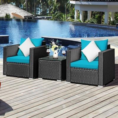Costway 3PCS Patio Rattan Wicker Furniture Set Sofa Table W/Cushion Turquoise