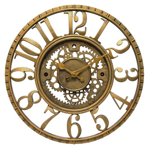 The Gear Round Wall Clock Gold Infinity Instruments