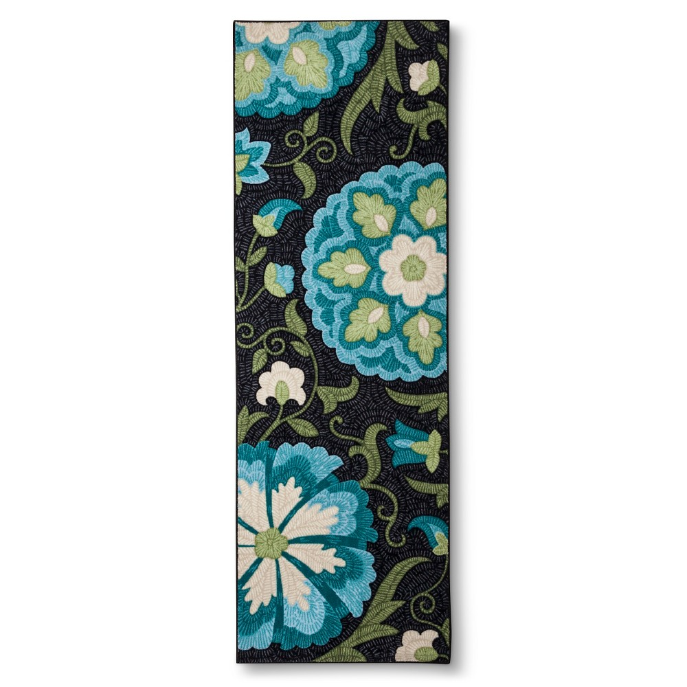 Image of 2'X6' Floral Accent Rug Blue - Maples