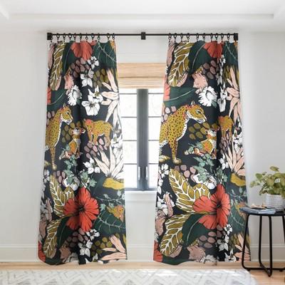 Marta Barragan Camarasa Animal Print Dark Jungle Single Panel Sheer Window Curtain - Deny Designs