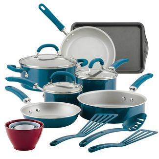 Rachael Ray Create Delicious 18pc Aluminum Nonstick Cookware Set Teal Shimmer