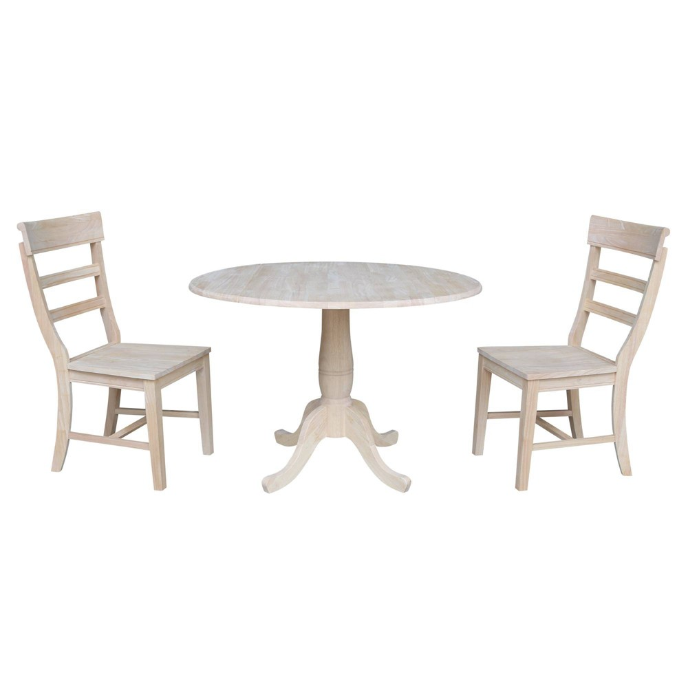"Image of ""29.5"""" Ava Round Table with Two Hammerty Chairs Blue - International Concepts"""