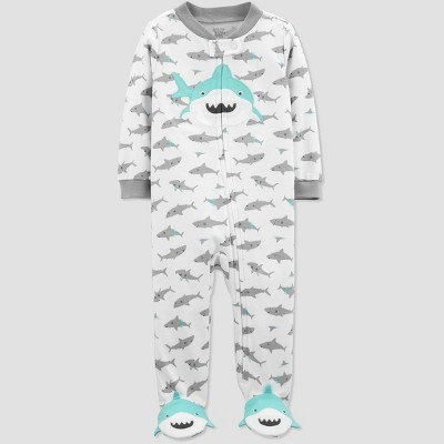 Baby Boys' Shark Print Sleep 'N Play One Piece Pajama - Just One You® made by carter's White/Gray 6M