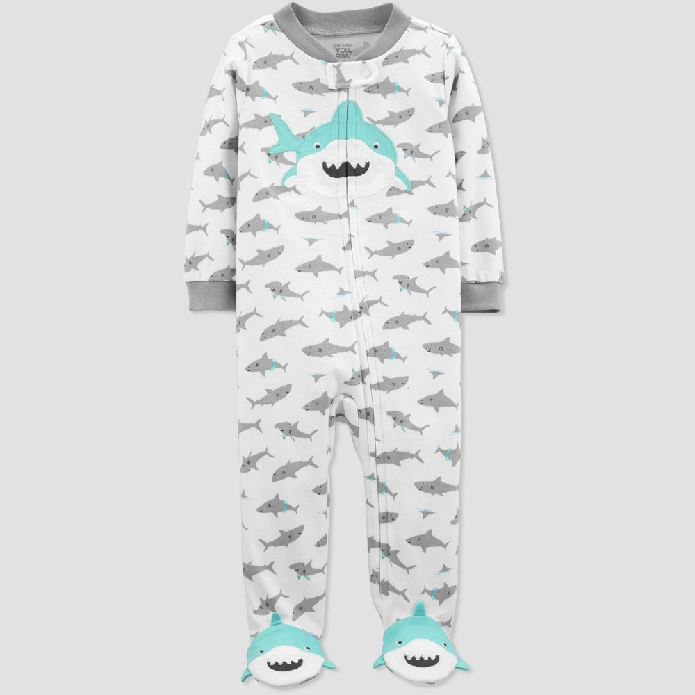 bd406c293 Baby Boys Shark Print Sleep N Play One Piece Pajama Just One You made by  carters WhiteGray 3M Green