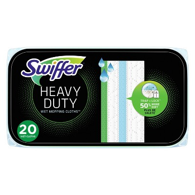 Swiffer Sweeper Heavy Duty Multi-Surface Wet Cloth Refills for Floor Mopping and Cleaning Fresh scent - 20ct
