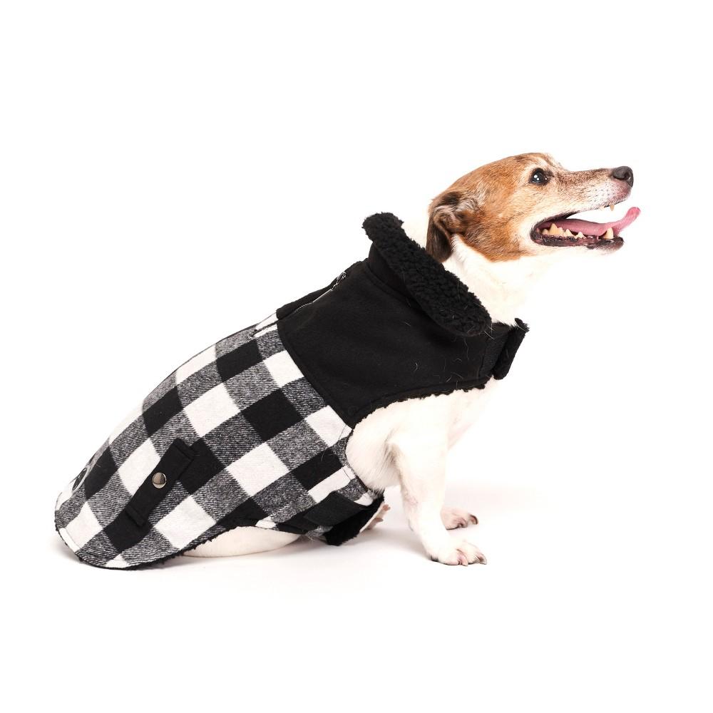 Royal Animals Check Dog Jacket - Black/White - L, Gray Pink