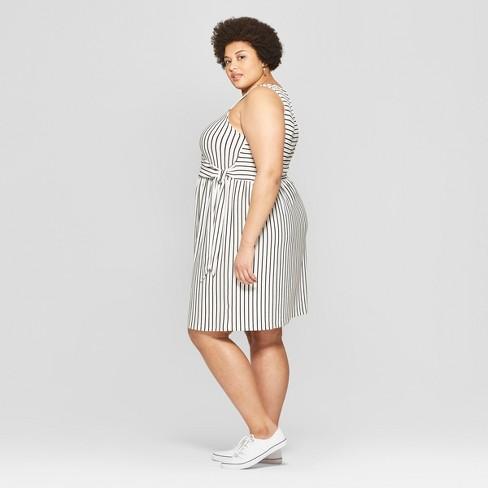 8ce25d36b555e Women s Plus Size Striped Sleeveless V-Neck Knit Tie Detail Dress - Ava    Viv™ Black White   Target