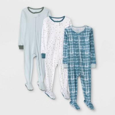 Baby Boys' 3pk Tie-Dye Basic Tight Fit Sleep N' Play - Cloud Island™ Blue 12M