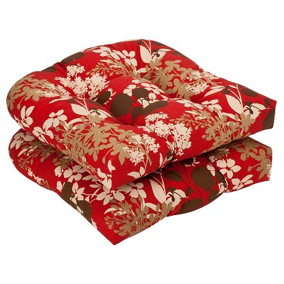 Outdoor 2-Piece Chair Cushion Set - Brown/Red Floral