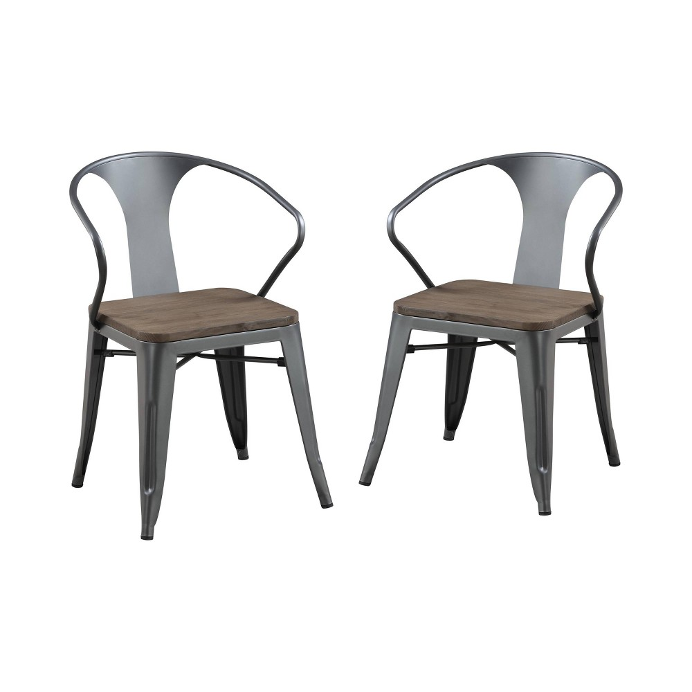 Set of 2 Clarkson Industrial Inspired Dining Side Chair Natural Elm/Gray - ioHOMES