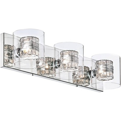 """Possini Euro Design Modern Wall Light Chrome Wrapped Wire 22"""" Wide Vanity Fixture Bathroom Over Mirror"""