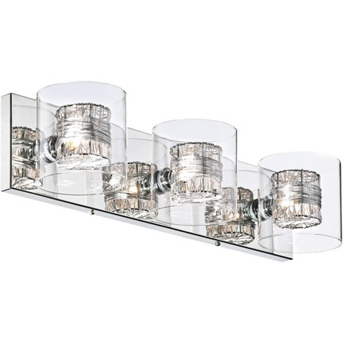 Possini Euro Design Modern Wall Light Chrome Wrapped Wire 22 Wide Vanity Fixture Bathroom Over Mirror Target