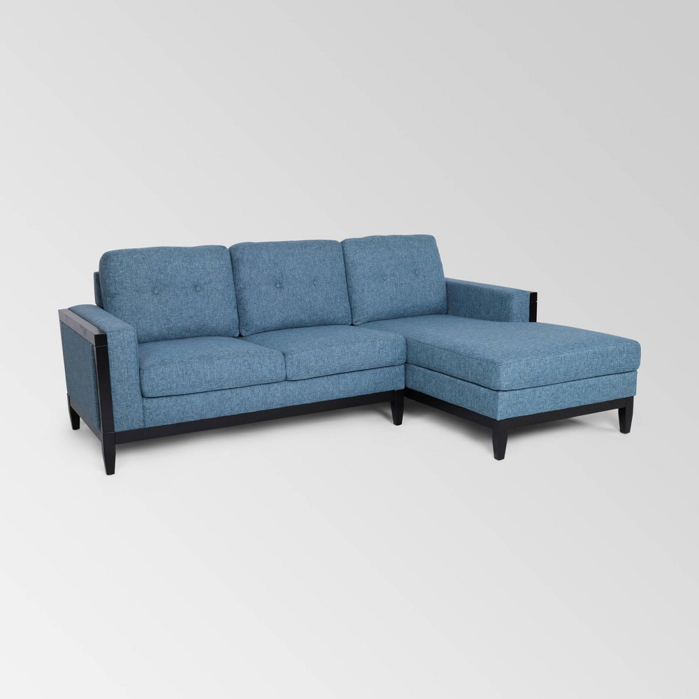 Image of 2pc Andover Mid Century Modern Chaise Sectional Blue - Christopher Knight Home