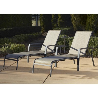 2pk Serene Ridge Aluminum Outdoor Adjustable Chaise Lounge Chair Set Brown - Room & Joy