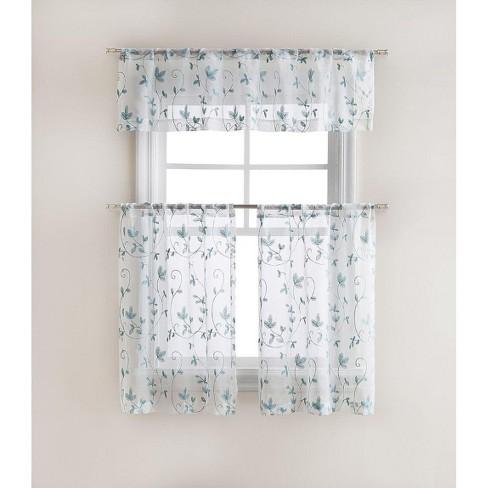 GoodGram Floral Embroidered Sheer Kitchen Curtain Tier & Valance Set - image 1 of 1