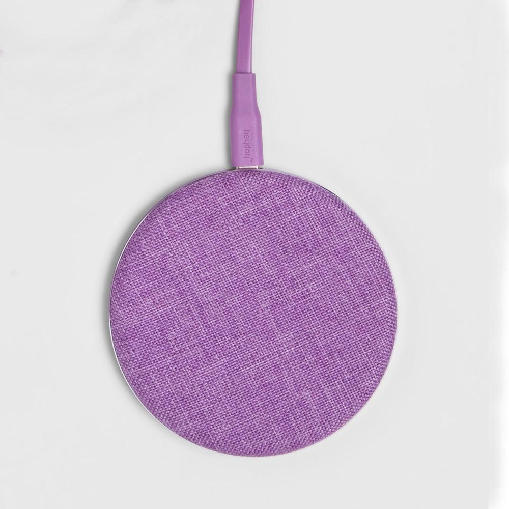 heyday Qi Wireless Fabric Charging Puck - Lilac Fancy heyday Qi Wireless Fabric Charging Puck - Lilac Fancy