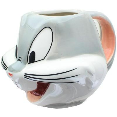 Silver Buffalo Looney Toons Bugs Bunny Face 22 Ounce Sculpted Ceramic Mug