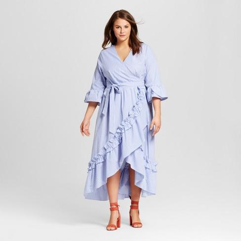 Women S Plus Size Ruffle Wrap Dress Who What Wear Target