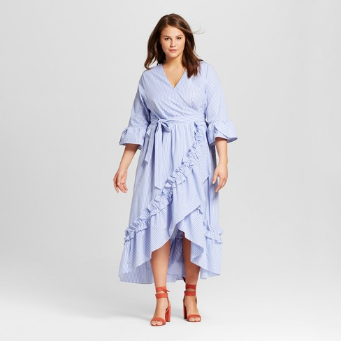 209c456ec15 Women s Plus Size Ruffle Wrap Dress - Who What Wear™ Blue Stripe ...