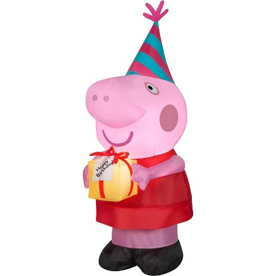 Gemmy Airblown Inflatable Birthday Party Peppa Pig, 3.5 ft Tall, pink