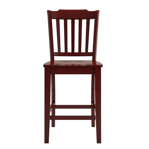 South Hill Slat Back 24 In Counter Chair Set Of 2 Berry Red