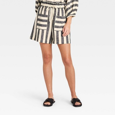 Women's Striped Shorts - Who What Wear™ Gray/White