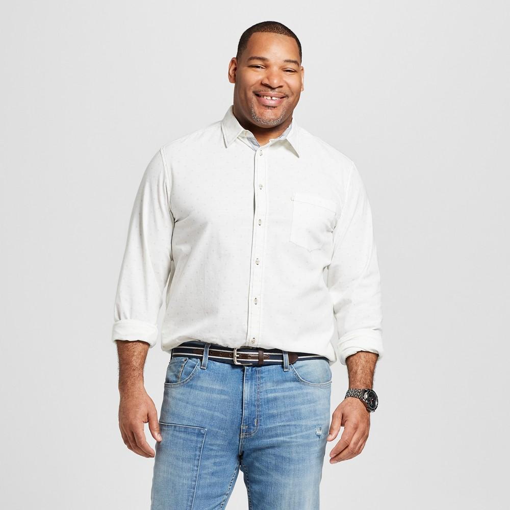Men's Big & Tall Long Sleeve Cotton Slub Button-Down Shirt - Goodfellow & Co True White 5XBT