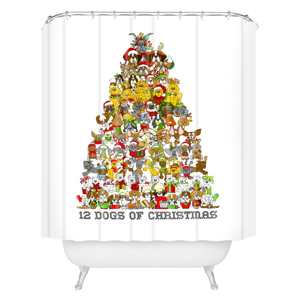 Image of Angry Squirrel Studio 12 Dogs Of Christmas Shower Curtain Green - Deny Designs