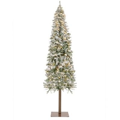 Best Choice Products Pre-Lit Snow Flocked Pencil Alpine Christmas Tree Holiday Decoration w/ LED Lights, Stand