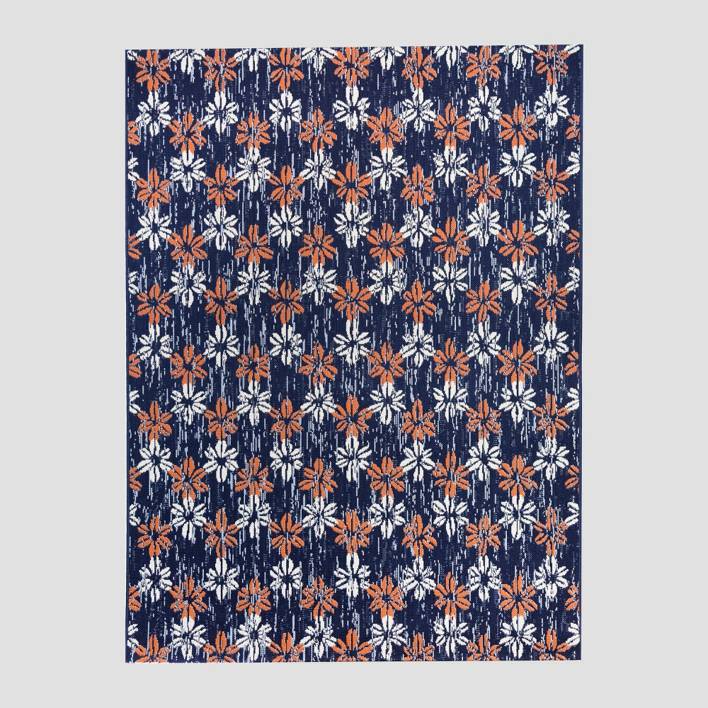 7' x 10' Floral Stamp Outdoor Rug Blue - Opalhouse
