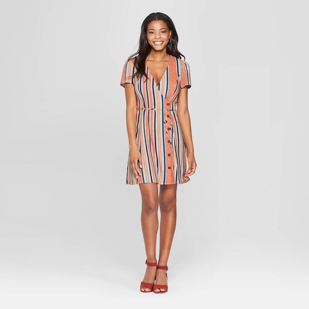 Women's Striped Short Sleeve Side Button Wrap Dress - Xhilaration XS, Multicolored