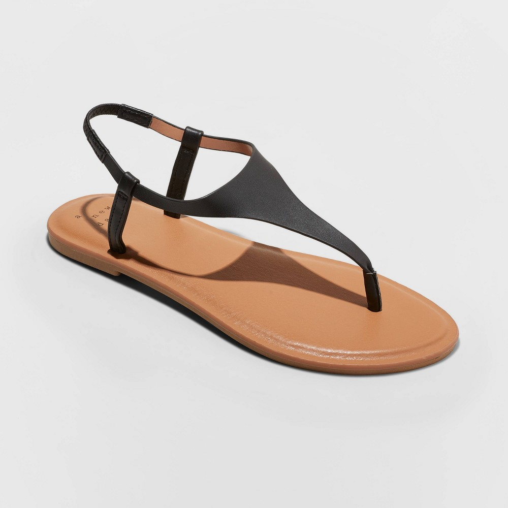 Women's Norah T-Strap Naked Sandals - A New Day Black 5.5