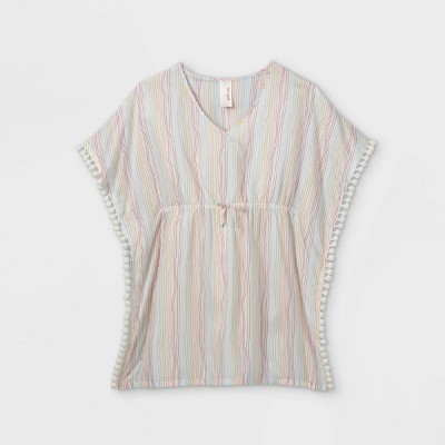 Girls' Woven Caften Striped Cover Up - Cat & Jack™ White