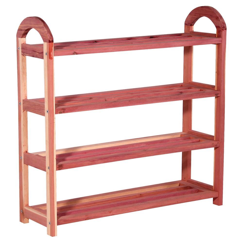 Image of Household Essentials - 4-Tier Cedar Shoe Rack - 12 Pairs - Natural Cedar, Red