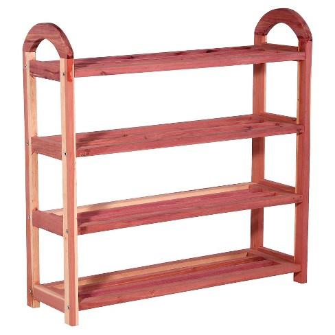 Household Essentials 4 Tier 12 Pairs Cedar Shoe Rack Natural Cedar - image 1 of 3