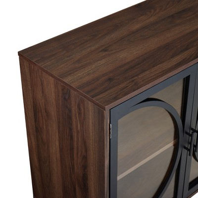 "Metal Door Tempered Glass TV Stand For TVs Up To 32"" Dark Walnut - Saracina Home : Target"